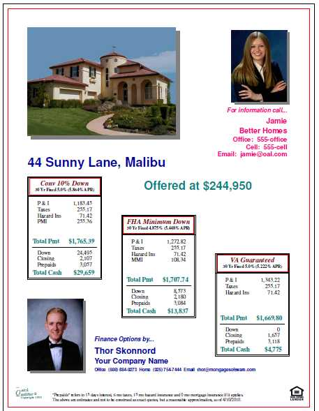 Open House Flyers With Finance Options And Property Features