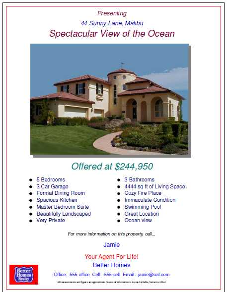 Open House Flyers with property features and pictures of real – Open House Flyers