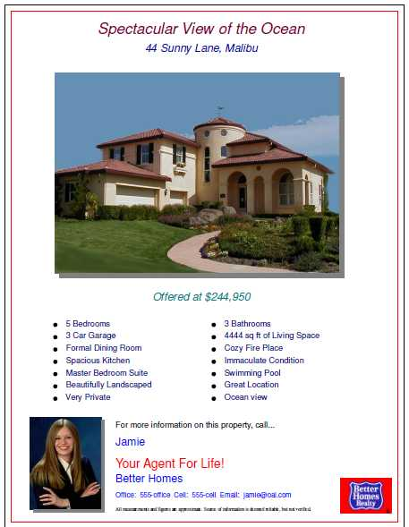 Open House Flyers With Property Features And Pictures Of Real