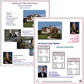 Open House Finance Option Flyers Fha Va Loan Calculations And